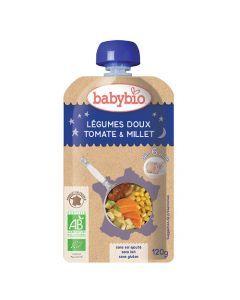 Babybio Gourde Bonne Nuit Légumes Doux, Tomate, Millet Biologique dès 6 Mois 120g