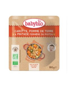 Babybio Sachet Carotte, Pomme de Terre, Pintade Biologique dès 12 Mois 190g