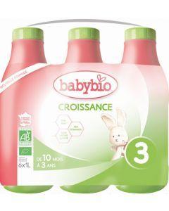 Babybio Croissance Liquide Formule 2020 au Lait de Vache français 6 x 1L