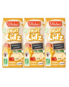 Vitabio Fruit Kid'z Pomme Mangue Acérola Jus de Fruits Bio 3x20cl
