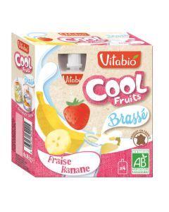Vitabio Cool Brassé Fraise Bio Gourde 4x85g