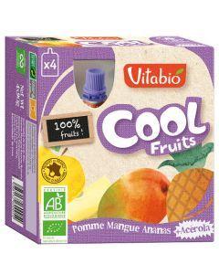 Vitabio Cool Fruits Pomme Mangue Ananas Bio Gourde 4x90g