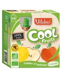 Vitabio Cool Fruits Pomme Bio Gourde 4x90g