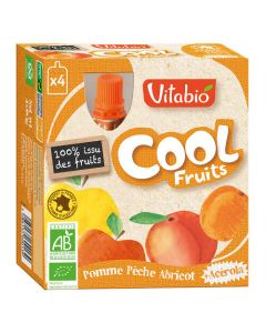 Vitabio Cool Fruits Pomme Pêche Abricot Bio Gourde 4x90g