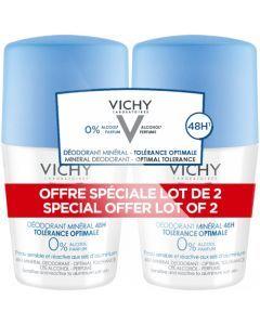 Vichy Déodorant Minéral 48h Tolérance Optimale Roll-On 2x50ml
