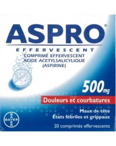 ASPRO 500 EFFERVESCENT 20 comprimés effervescents
