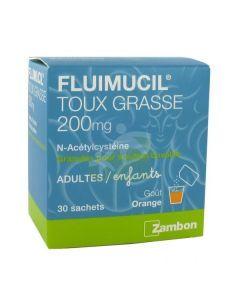 Fluimucil 200mg Granulés pour Solution Buvable 30 Sachats