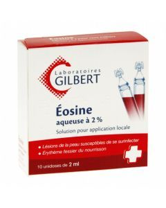 Eosine Aqueuse 2% Gilbert Solution pour Application Locale 10 unidoses de 2ml