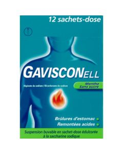 GAVISCONELL MENTHE SANS SUCRE suspension buvable en sachet-dose édulcorée à la saccharine sodique