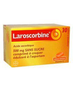 LAROSCORBINE 500mg SANS SUCRE comprimé à croquer édulcoré à l'aspartam