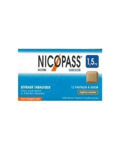 NICOPASS 1.5mg SANS SUCRE REGLISSE MENTHE pastille édulcorée à l'aspartam et à l'acésulfame potassique