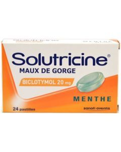 SOLUTRICINE MAUX DE GORGE BICLOTYMOL MENTHE 20mg pastille