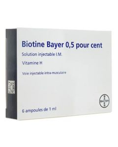 Biotine 0.5% solution injectable 6 ampoules chute de cheveux