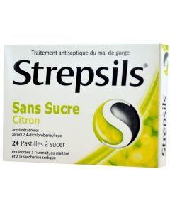 STREPSILS CITRON SANS SUCRE pastille édulcorée à l'isomalt au maltitol et à la saccharine sodique