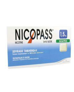 NICOPASS 1.5mg SANS SUCRE EUCALYPTUS pastille édulcorée à l'aspartam et à l'acésulfame potassique