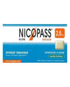 NICOPASS MENTHE FRAICHEUR 2.5mg SANS SUCRE pastille édulcorée à l'aspartam et à l'acésulfame potassique