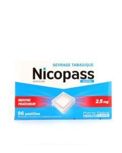 Nicopass 2,5mg sans sucre Menthe Fraîcheur 96 pastilles