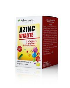 Arkopharma Azinc Adulte Vitamines C et E Manganèse Zinc 60 gélules