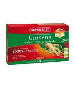 Super Diet Ginseng Gelée Royale Acérola Bio - 20 Ampoules de 15Ml