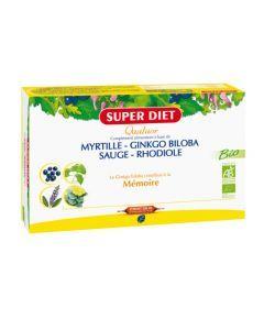 Super Diet Quatuor Ginkgo Mémoire Bio - 20 Ampoules de 15Ml