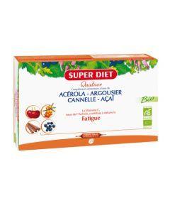 Super Diet Quatuor Acérola Tonique Bio Acérola, Argousier, Cannelle, Açaï - 20 Ampoules de 15Ml