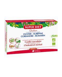 Super Diet Quatuor Coriandre Cardiovasculaire Bio - 20 Ampoules de 15 Ml