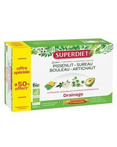 Superdiet Quatuor Pissenlit Drainage Bio 30 ampoules
