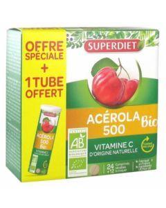 Super Diet Acérola 500 Bio 24 Comprimés +1 Tube Offert