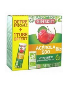 Superdiet Acerola 500 Bio 24 Comprimés + 1 Tube 12 Comprimés