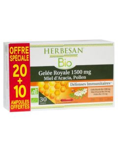 Herbesan Bio Gelée Royale Miel Pollen 20 ampoules +10 offertes