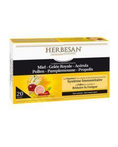Herbesan Miel, Gelée Royale, Acérola, Pollen, Pamplemousse, Propolis  20 Ampoules de 15Ml