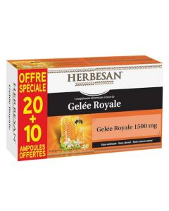Herbesan Gelée Royale 1500mg 20 ampoules + 10 offertes