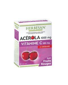 Herbesan Acérola 1000 Goût Fruits Rouges - 30 Comprimés à Croquer