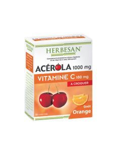 Herbesan Acérola 1000 Goût Orange - 30 Comprimés à Croquer