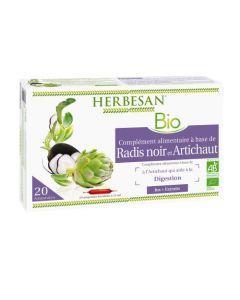 Herbesan Phyto Radis Noir - Artichaut Bio -  20 Ampoules de 15Ml