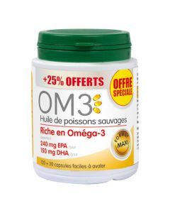 OM3 Huile De Poissons Sauvages 120 capsules + 30 offertes