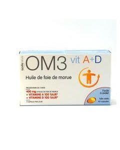 Vie et Santé Om3 Foie de Morue Vitamine à et D 60 Capsules