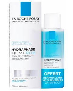 La Roche-Posay Hydraphase Intense Riche 50ml + Respectissime Démaquillant 50ml Offert