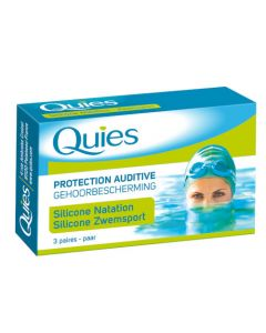 Quies Protection Auriculaire Spécial Natation 3 Paires Silicone