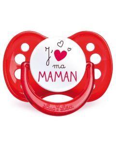 Luc et Léa Sucette Silicone j'Aime Maman 6 Mois+ 1 Sucette