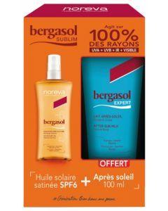 Noreva Bergasol Sublim Huile Solaire Satinée SPF6 125 ml + Bergasol Expert Lait Après-Soleil 100 ml Offert