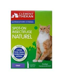 Clément Thékan Spot-on Insectifuge Naturel Pour Chat 4 Pipettes
