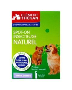 Clément Thékan Spot-on Insectifuge Naturel Chiot et Chaton 4 Pipettes