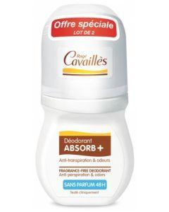 Rogé Cavaillès Absorb+ Déodorant Anti-Transpiration & Odeurs Roll-On Sans Parfum 2x50ml