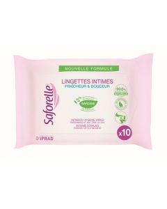 Saforelle Lingettes Intimes Biodégradables sachet pocket de 10