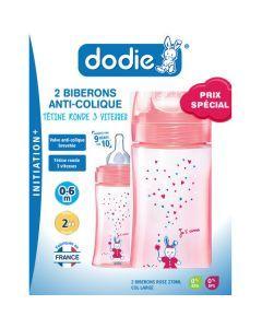 Dodie Coffretx2 Biberons Initiation+ 270Ml Rose Licorne 0-6 Mois Tétine Ronde 3 Vitesses Débit 2