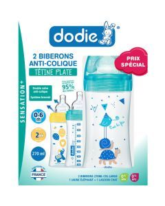 Dodie Coffretx2 Biberons Sensation+ 270Ml Jaune/Lagoon 0-6 Mois Tétine Plate Débit 2