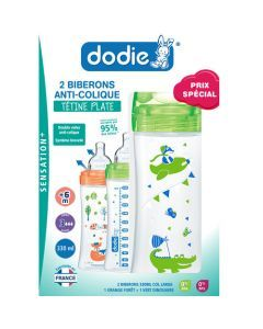 Dodie Coffretx2 Biberons Sensation+ 330Ml Vert/Orange +6 Mois Tétine Plate Débit 3