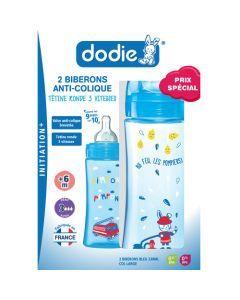 Dodie Coffretx2 Biberons Initiation+ 330Ml Bleu Pompier+6 Mois Tétine Ronde 3 Vitesses Débit 3