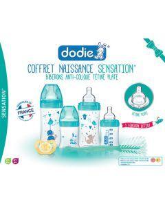 Dodie Coffret Naissance Sensation+ X4 Biberons (2X150Ml + 2X270Ml) + 1 Goupillon + 1 Sucette Physiologique 0-2 Mois